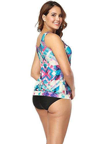 BOZEVON Donna Moda Estate Bikini Multicolore Beachwear Casuale Abito da Bagno Due Pezzi Tankini Retro Floreale Costumi da Bagno Stile A1