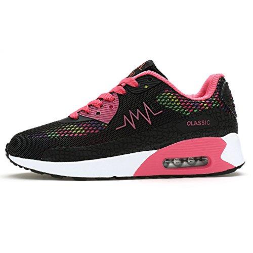 Peggie House,Scarpe da Ginnastica Donna Scarpe da Sportive Running Sneakers casuale a piedi palestra Nero & Rosa
