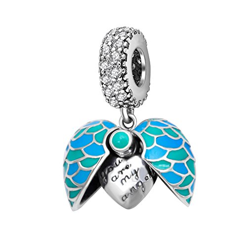 Blue Heart Charms You Are My Angel Wings Pendant 925 Sterling Silver Dangle Charms Bead Fit Charms European Bracelet or Necklace