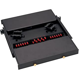 Allen Tel Products GB324 19-Inch Width by 12-Inch Depth by 1.75-Inch Height Rack Mount Fiber Optic Cabinet, 3 Adapter Panel Capacity