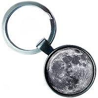 NASA Photograph The Moon Der Mond Foto Silver Keychain Silber Schlüsselanhänger