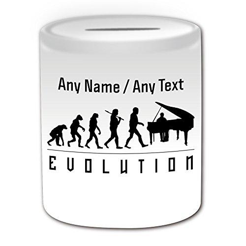 (Personalisiertes Geschenk–PIANO Spardose (Evolution Design Thema, weiß)–alle Nachricht/Name auf Ihre einzigartige–Player Silhouette Outline Contour Event Hobby Klassische Musik Musiker Tastatur Jazz beliebtes Geschichte)