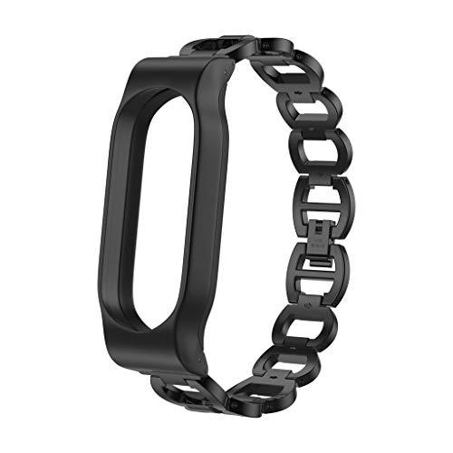 TianranRT Edelstahl Stahl Kette Stil Armband Smart Watch Band Gurt Für Xiaomi Mi Band 2 (Schwarz) (Wels Uhr)