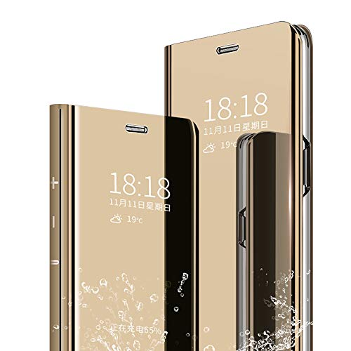 DAYNEW for Samsung Galaxy J6 Plus Case Cover,Mirror Smart Flip Cover Stand Function Plating Ultra Slim Fit Makeup Practical Protective Case For Samsung Galaxy J6 Plus-Gold
