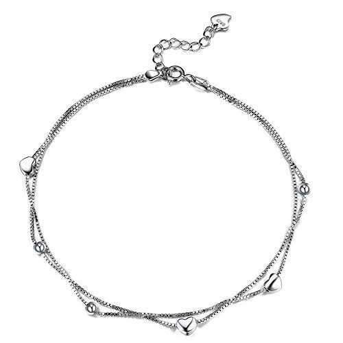 Fine Jewelry Frank 925 Sterling Silver Anklets Womens Unique Sexy Simple Beads Silver Chain Anklet Bright In Colour Fine Anklets