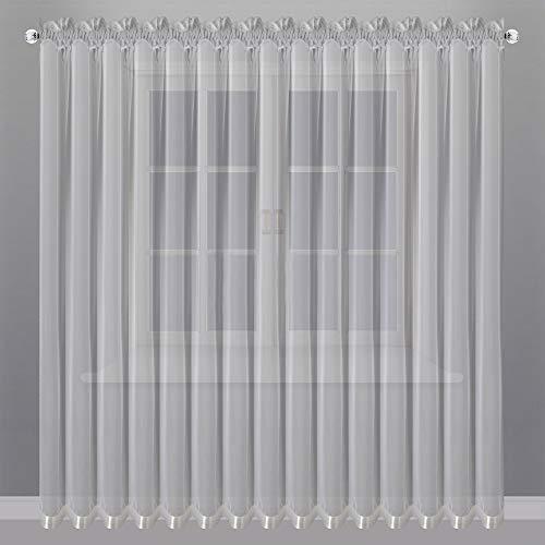 FKL Schöne Fertiggardine Fenstergardine Gardine aus Voile mit Faltenband Kräuselband Store Lang Modern Weiß 250x400 cm LB-81