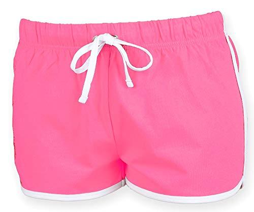 Skinni Fit Damen Short Gr. Medium, rosa/weiß
