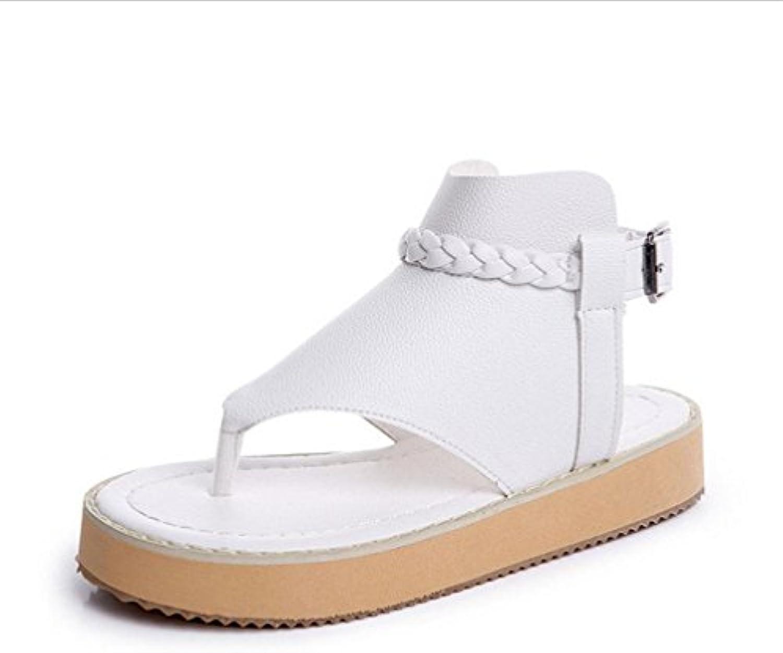 las mujeres de estilo tanga palabra hebilla de los zapatos planos zapatos blancos con zapatos planos ocio salvaje...