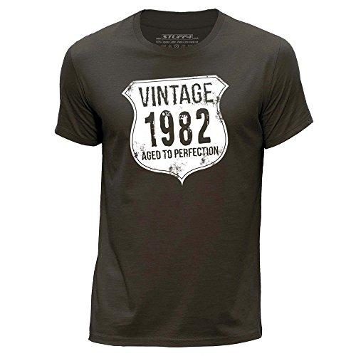 STUFF4 Herren/X groß (XL)/Dunkelbraun/Rundhals T-Shirt/ Vintage Born In 1982 (T-shirt 1982 Herren Vintage)