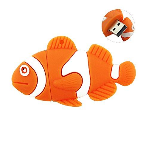 USBbkingdom USB-Speicherstick (USB 2.0, Cartoon-Design, Hai, Fisch, Schildkröte, Eidechsen) Orange Fish 32 GB