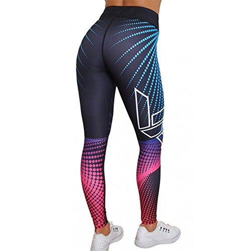 Pantalones Yoga Mujeres Mallas Deportivas Mujer Punto de ola Mujer Deporte Pantalones Fitness Mujer Gym Yoga Pantalon EláSticos Para Running Pilates Fitness Impresión 3D (Multicolor, M)