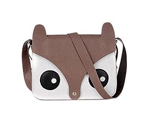 ISASSY Damen-Schultertasche, Retrolook, Fuchskopf, Leder, Handtasche, Schultasche, verschiedene Farben, hochwertig dunkelbraun