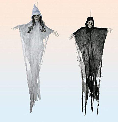 Ghost mit schwarzem und weißem Umhang 122 cm 2 Stück (Halloween Ghost Dekorationen)