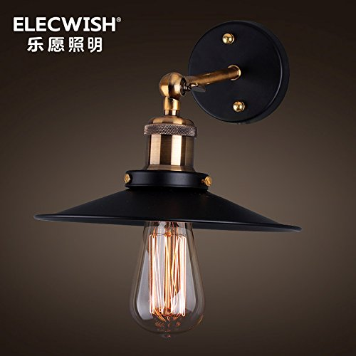 American country vintage iron outdoor Wall lamp bedside lamp bedroom small black umbrella style Wall lamp-Black-medium,Black Queen (without light)
