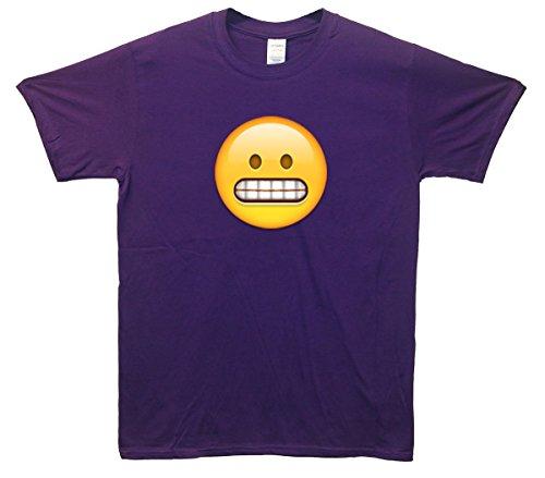 Grimacing Face Emoji T-Shirt Lila