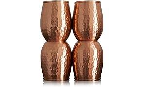 Kosdeg - Set di 4 bicchieri in rame da 12 Oz – Un nuovo modo di godersi il vino, il perfetto bicchiere in puro rame per acqua – meglio dei bicchieri, più sicuro della plastica
