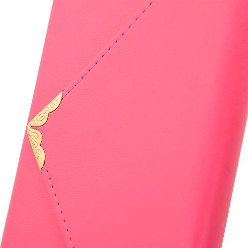 iPhone Case Cover Étui en cuir solide style V fermeture enveloppe étui en cuir PU portefeuille avec sangle pour IPhone 6s plus 5.5 pouces ( Color : Pink , Size : IPhone 6s Plus ) Pink