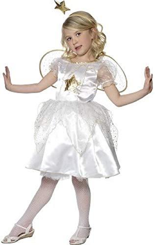 Fancy Me Mädchen Weiß& Gold Star Fee Engel Gabriel Weihnachten Krippe Verkleidung Kostüm Outfit 4-12 Jahre - Weiß, 4-6 Years (Kinder Kostüm Engel Gabriel)