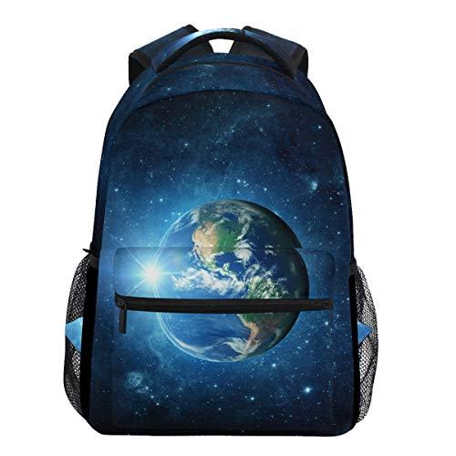 Oarencol Blue Earth Galaxy Sun Space Planet Universum Globus Cosmos Orbit Rucksäcke Bookbags Daypack Travel School Collegetasche für Frauen Mädchen Männer Jungen