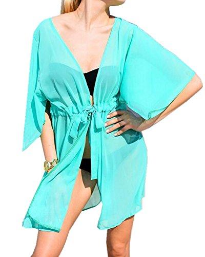 Aeneontrue Bikini Cover Up Bikini Tunika Bluse Kurzarm Chiffon Strandkleid Damen Push Up Lange Strandponcho Sommer Kleid Bikini Überwurf Kaftan Kimono Hell Blau