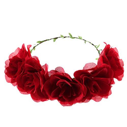 TTWOMEN Brautschmuck BöHmische Dame Stirnband Blumenkarte Hochzeit Haar Accessoire Kranz Haarband Strandparty