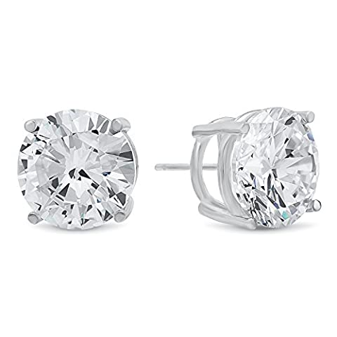 Round Cut Clear Synthetic Gemstone 13mm CZ Sterling Silver Stud Earrings