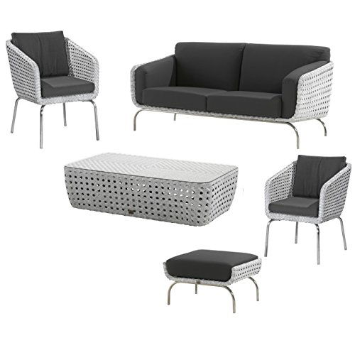 4Seasons Outdoor Luton 5-teilige Loungegruppe mit Dining Sessel pearl