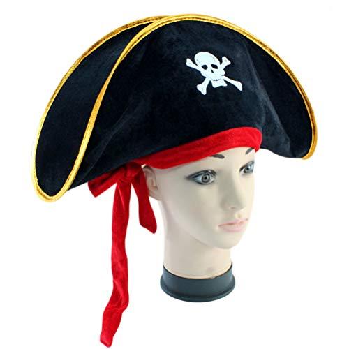 Daxoon 4Pcs Piratenhut Classic Skeleton Printing Piraten kostüm für Halloween Masquerade - Halloween Classic Piraten Kostüm