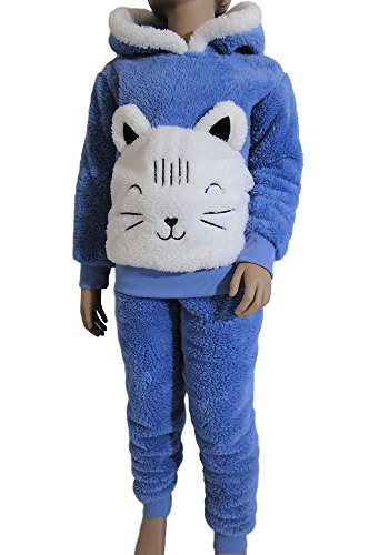 Pyjama enfant en pilou tout doux à capuche pour fille. ( Ref ElsaⒸ) (10 ans, Bleu)