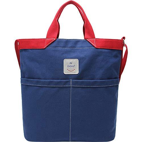 Bedolio Fashion Crossbody Casual Canvas Bag Damen Schultertasche Multi Pocket, Blau