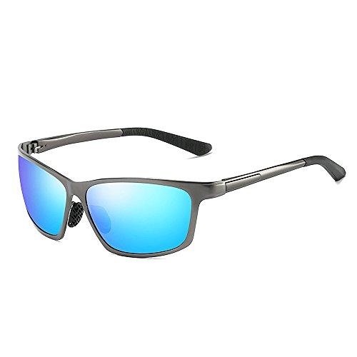 VeBrellen Herren Polarisierte Sonnenbrillen Für Autofahren Damen Brillen 100% Polarisierter UV-Schutz VS012 - Grey Frame Blue Lens