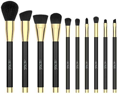 The Fellie Makeup Pinselset, Professionelle Foundation Blending Rouge Concealer Augen Gesicht Flüssigkeiten Pulder Cream Kosmetik makeup Pinsel Set, Schwarz mit Gold