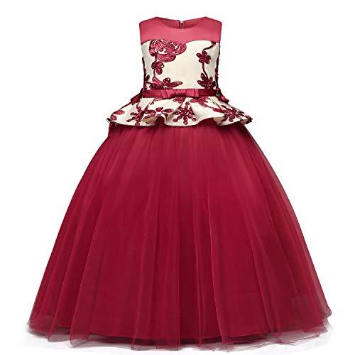4-14 A/ños iEFiEL Vestido de Fiesta Princesa Gasa Bautizo Boda para Ni/ña Vestido Casual de Ceremonia