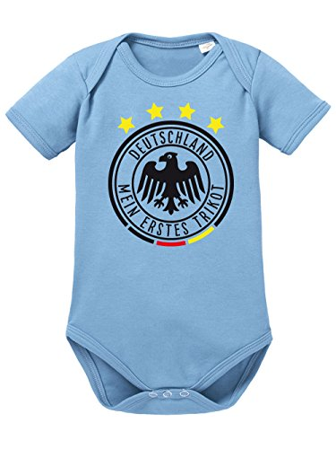 clothinx Baby Body Unisex Fußball Mein erstes Trikot Himmelblau Größe 50-56