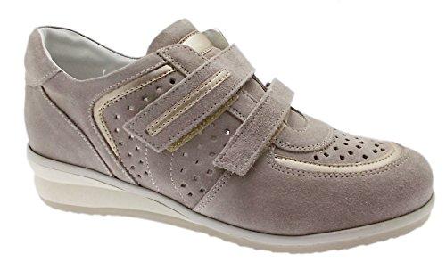 sneaker art C3659 beige taupe traforata scarpa donna ortopedica 37 tortora