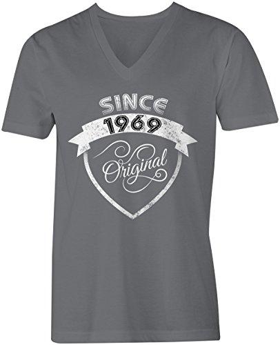 Original Since 1969 - V-Neck T-Shirt Männer-Herren - hochwertig bedruckt mit lustigem Spruch - Die perfekte Geschenk-Idee (06) dunkelgrau