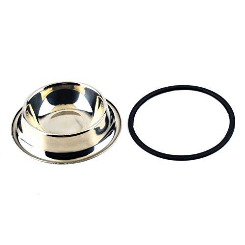 Jiobapiongxin 1 x Edelstahl Standard Welpen Welpe für Hunde oder Bevande Schüssel Wasser mit Einer effektiven Anti-Rutsch Rostschutz (Silber) JBP-X -