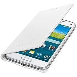 Samsung Flip Wallet Hülle Case Cover für Samsung Galaxy S5 Mini - Metallic Weiß