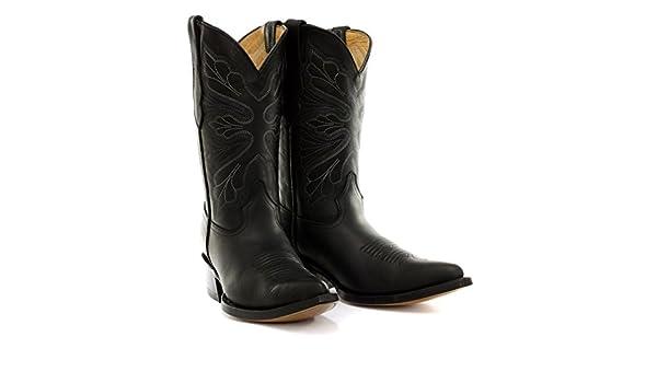 Grinders Dallas Schwarz Leder Damen Cowboy Biker Stiefel
