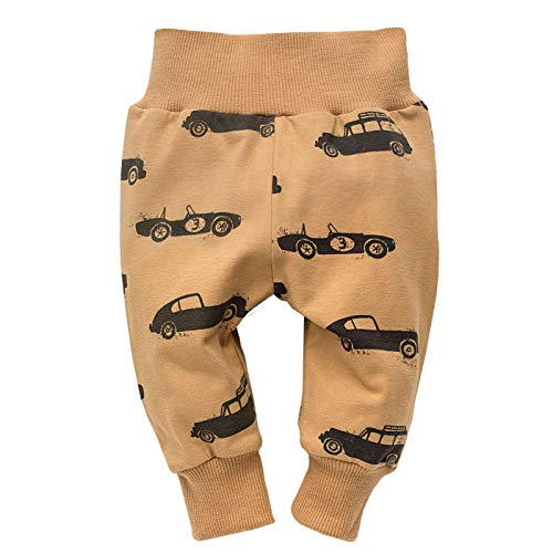 FLIKEFASHION-PINOKIO OLD CARS Baby-Jungen Leggins Kinder Baumwolle Legging Kinder Hose, Hergestellt in EU, Braun, 68 Baumwolle Baby-leggings