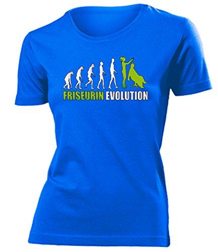 Friseurin Evolution 4595 Damen T-Shirt (F-B-Weiss-Grün) Gr. L