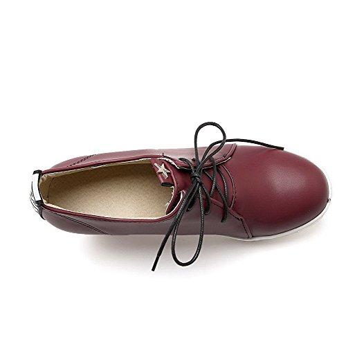 VogueZone009 Femme à Talon Haut Couleur Unie Matière Souple Rond Chaussures Légeres Rouge Vineux
