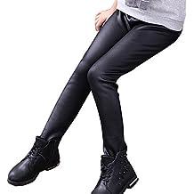 Niña En Mallas Leggings Pu Cuero Artificial Elástico Pantalones Plus Espesamiento Leggins Negro 140CM