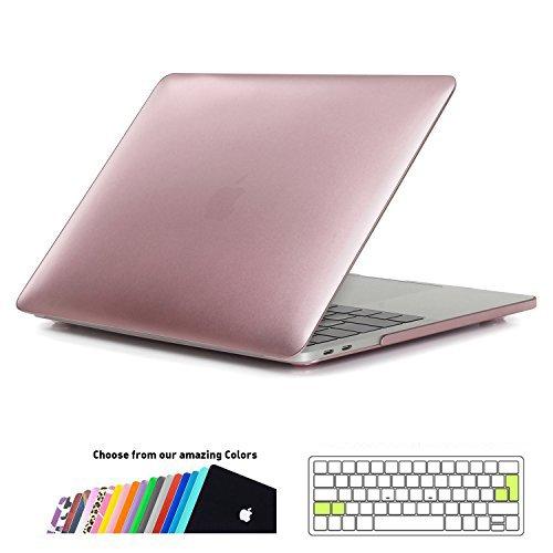 iNeseon MacBook Pro 13 Hülle Case 2018/2017/2016, Plastik Hartschale Schale Cover Tasche mit EU/ohne Touch Bar Modell: A1989&A1706&A1708 (Roségold) -