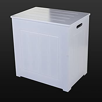 Marko Bathroom Large Laundry Bin Basket White Wooden Rectangular H&er Bathroom Bedroom Hinged Lid & Marko Bathroom Large Laundry Bin Basket White Wooden Rectangular ... Aboutintivar.Com