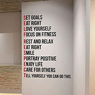 DesignDivil SELF RESPECT Gym Wall Decal Motivational Quote-Health and Fitness Spinning Kettlebell Workout Boxing UFC MMA