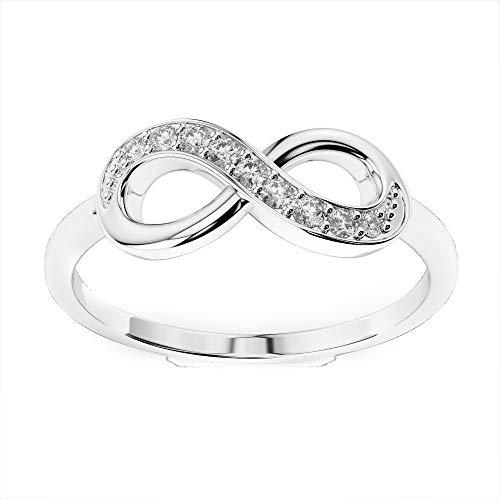 Anello con simbolo dell'infinito con diamanti autentici da 0,10 carati, anello unico per anniversario di matrimonio, in oro bianco e oro bianco, 48 (15.3), colore: bianco, cod. cjolr0005.2