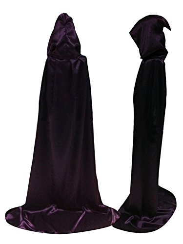Damen Herren Halloween Umhang Karneval Fasching Kostüm Cape mit Kapuze (Lila, M) (Lila Kapuzen Umhang)