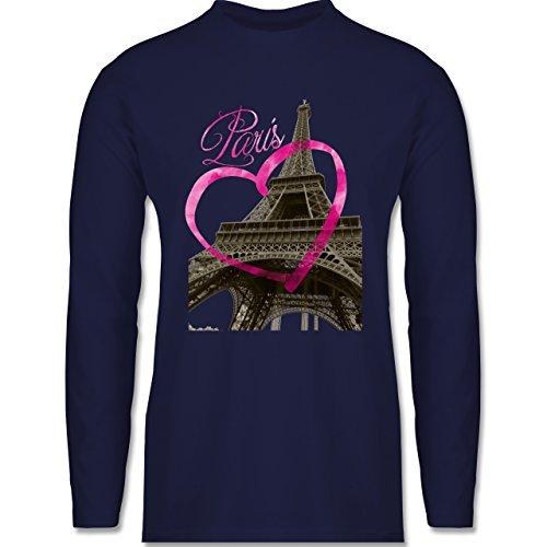 Shirtracer Städte - I Love Paris - Herren Langarmshirt Navy Blau