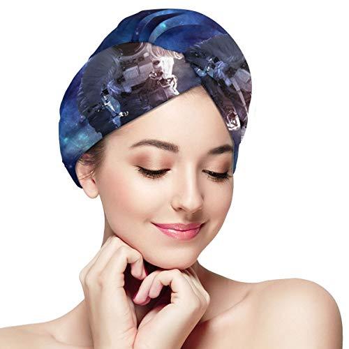 Haartücher Astronaut (8) Haartuch Wrap für Frauen, Mikrofaser Waffel Kopftuch -